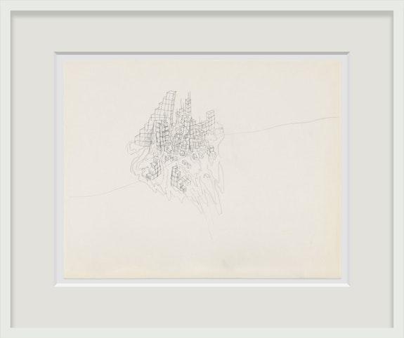 Robert Smithson, <em>Surd Deposit</em>, n.d. Pencil on paper, 19 x 24 inches. Courtesy Holt/Smithson Foundation and Marian Goodman Gallery. © Holt/Smithson Foundation, Licensed by VAGA at ARS, New York. Photo: Alex Yudzon.