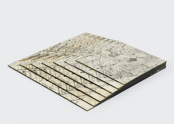 Robert Smithson, <em>Untitled</em>, 1967. Map of Passaic, New Jersey; map on mirrors, 1 x 14 x 14 inches. Courtesy Holt/Smithson Foundation and Marian Goodman Gallery. © Holt/Smithson Foundation, Licensed by VAGA at ARS, New York. Photo: Alex Yudzon.