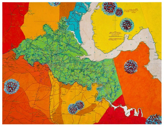 Joyce Kozloff, <em>Uncivil Wars: Battle of Chancellorsville</em>, 2021. Acrylic on canvas, 50 x 65 inches. Courtesy the artist and DC Moore Gallery, New York.