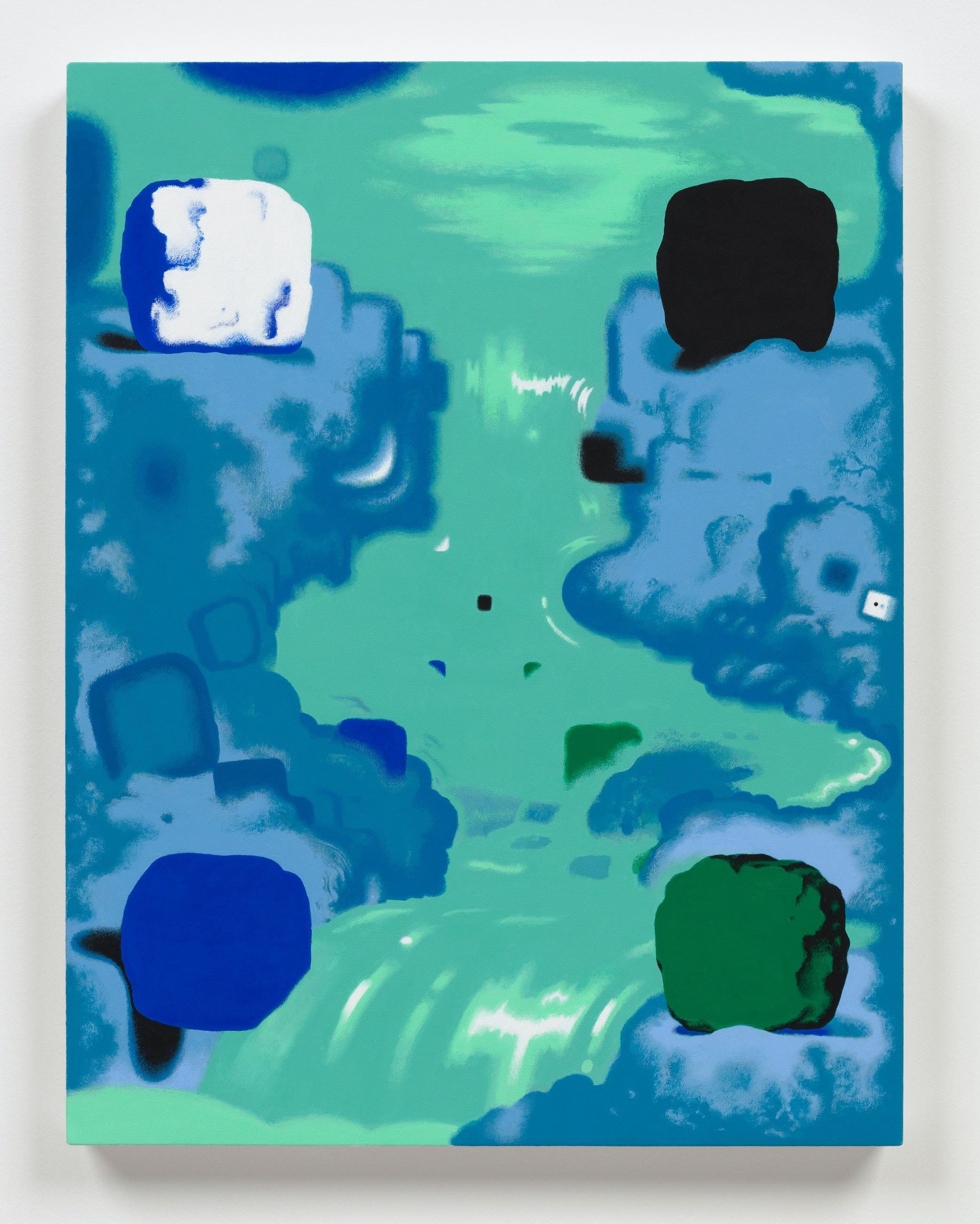 Joshua Marsh, <em>Shiii...</em>, 2021. Acrylic on canvas over panel, 22 x 17 inches. Courtesy Mother Gallery, Beacon.
