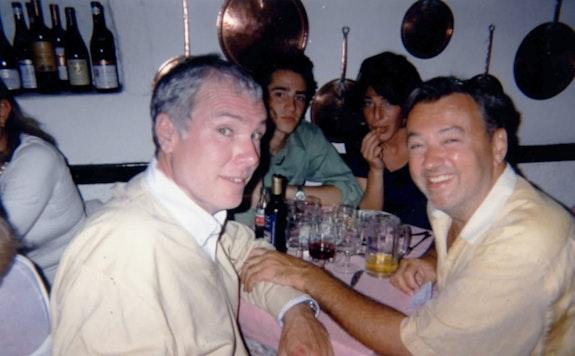 From left to right: Glenn O'Brien, Jordan Galland, Lisa Rosen, and Diego Cortez. Summer 1997, Capri.