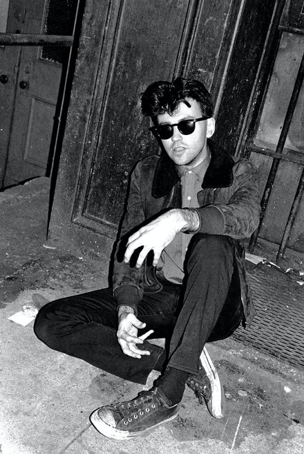 Diego poses in front of the Mudd Club. © Marcia Resnick 1978. Photo: Marcia Resnick.