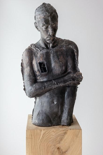 Pawel Althamer, <em>Bruno A</em>., 2020. Glazed ceramic, 35 3/8 x 19 1/4 x 12 1/4 inches. Courtesy the artist and Anton Kern Gallery, New York.