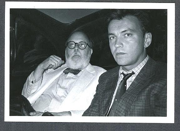 Henry Geldzahler & Diego Cortez in taxi, NYC, 1981. Photo: Raymond Foye.
