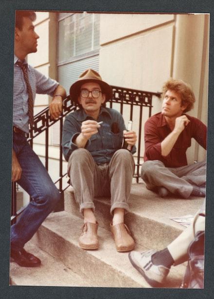 L to R: Diego Cortez, Don Van Vliet, Bradford Morrow. 33 West 9th Street, NYC, 1982. Photo: Raymond Foye.
