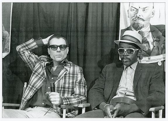 Glenn O'Brien and Fab 5 Freddy, still from <em>TV Party</em>. Photo: Bobby Grossman.