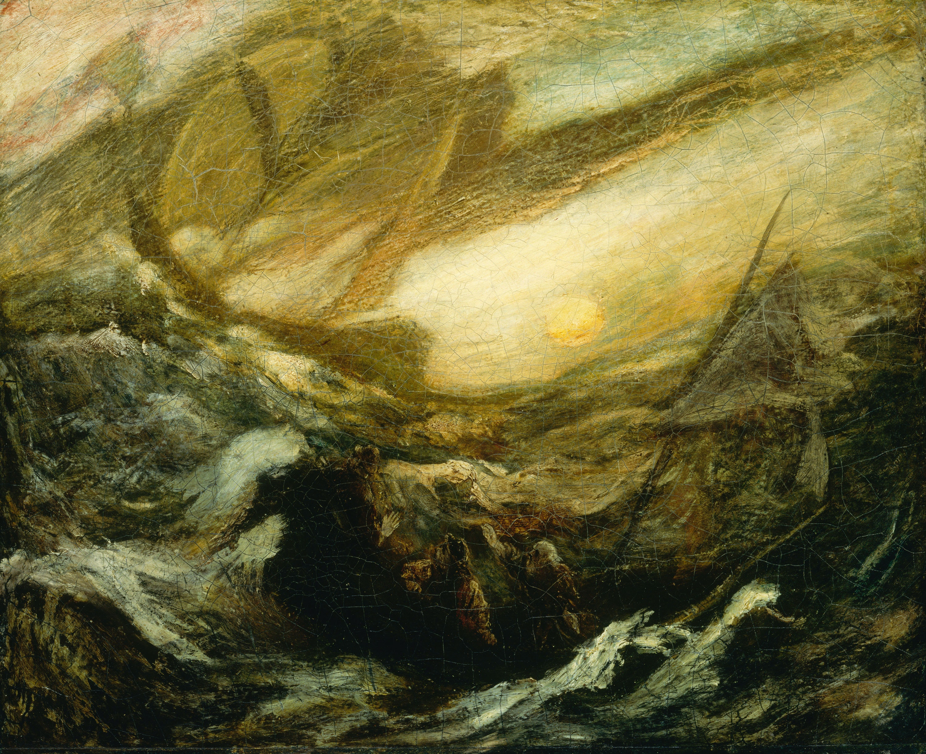 Albert Pinkham Ryder, <em>Flying Dutchman</em>, completed by 1887. Oil on canvas mounted on fiberboard, 14 1/4 x 17 1/4 inches. Smithsonian American Art Museum, Gift of John Gellatly.