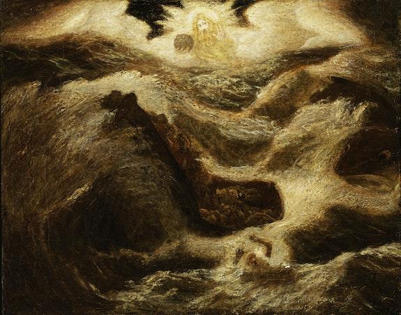 Albert Pinkham Ryder, <em>Jonah</em>, ca. 1885–95. Oil on canvas mounted on fiberboard, 27 1/4 x 34 3/8 inches. Smithsonian American Art Museum, Gift of John Gellatly.