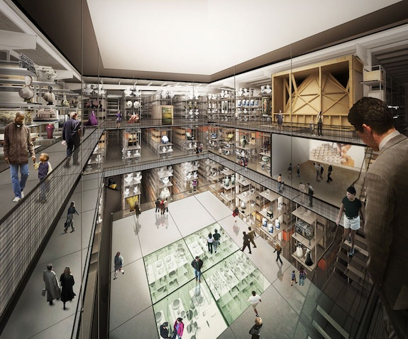 Internal render view of the central public collection hall in new V&A East Storehouse at Here East, designed by Diller Scofidio + Renfro. © Diller Scofidio + Renfro, 2018