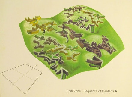 Arakawa + Gins, <em>Isle of Reversible Destiny — La Certosa, Venice, Park Zone / Sequence of Gardens A, late 1990s</em>. Graphite and color pencil on paper. © 2021 Estate of Madeline Gins. Reproduced with permission of the Estate of Madeline Gins