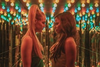 Left to right: Riley Keough, Taylour Paige in <em>Zola</em>. Courtesy Anna Kooris, A24.
