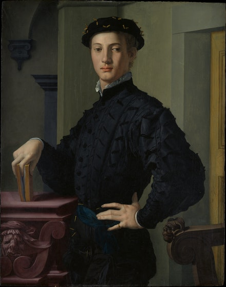 Bronzino, <em>Portrait of a Young Man with a Book</em>, probably mid-1530s. Oil on wood, 37 5/8 x 29 1/2 inches. The Metropolitan Museum of Art, New York.