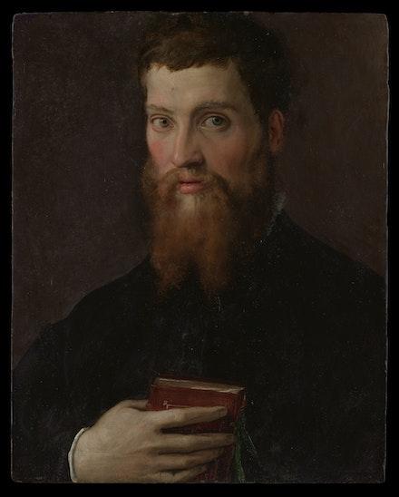Francesco Salviati, <em>Carlo Rimbotti, </em>probably 1548. Oil on wood, 20 3/4 x 16 3/8 inches. The Metropolitan Museum of Art, New York.