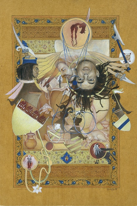 Shahzia Sikander, <em>Eye-I-ing Those Armorial Bearings</em>, 1989–97. Vegetable color, dry pigment, watercolor, and tea on wasli paper, 8 5/8 x 5 3/4 inches. The Collection of Carol and Arthur Goldberg, © Shahzia Sikander. Courtesy the artist, Sean Kelly, New York and Pilar Corrias, London.
