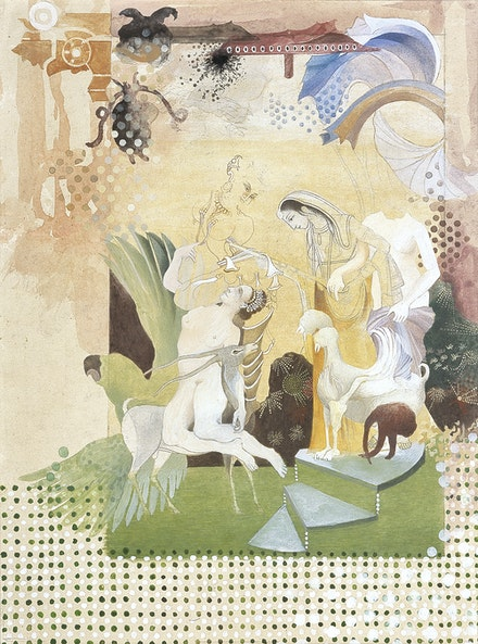 Shahzia Sikander, <em>Intimacy</em>, 2001. Dry pigment, watercolor, and tea on wasli paper, 8 1/2 x 11 inches. Collection of Jeanne and Michael Klein; Promised gift to the Blanton Museum of Art, The University of Texas at Austin, © Shahzia Sikander. Courtesy the artist, Sean Kelly, New York and Pilar Corrias, London.