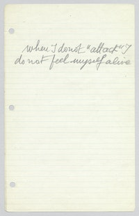 Louise Bourgeois,<em> Loose sheet of writing</em>, ca. 1961. Handwritten in pencil on ruled paper.© The Easton Foundation/Licensed by VAGA at Artists Rights Society (ARS), NY