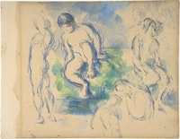 Paul Cézanne, <em>Bathers</em>, ca. 1890. Pencil and watercolor on wove paper. The Metropolitan Museum of Art, New York. Gift of Mrs. Mabel Rossbach.
