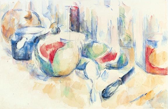 Paul Cézanne, <em>Still Life with Cut Watermelon (Nature morte avec pastèque entamée)</em>, ca. 1900. Pencil and watercolor on paper, 12 3/8 x 19 1/8 inches. Fondation Beyeler, Riehen/Basel. Beyeler Collection. Photo: Peter Schibli