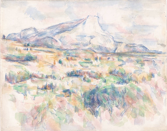 Paul Cézanne, <em>Mont Sainte-Victoire (La Montagne Sainte-Victoire vue des Lauves)</em>, 1902-06. Watercolor and pencil on wove paper, 16 3/4 x 21 3/8 inches. The Museum of Modern Art, New York. Gift of Mr. and Mrs. David Rockefeller. Photo © 2021 MoMA, NY.