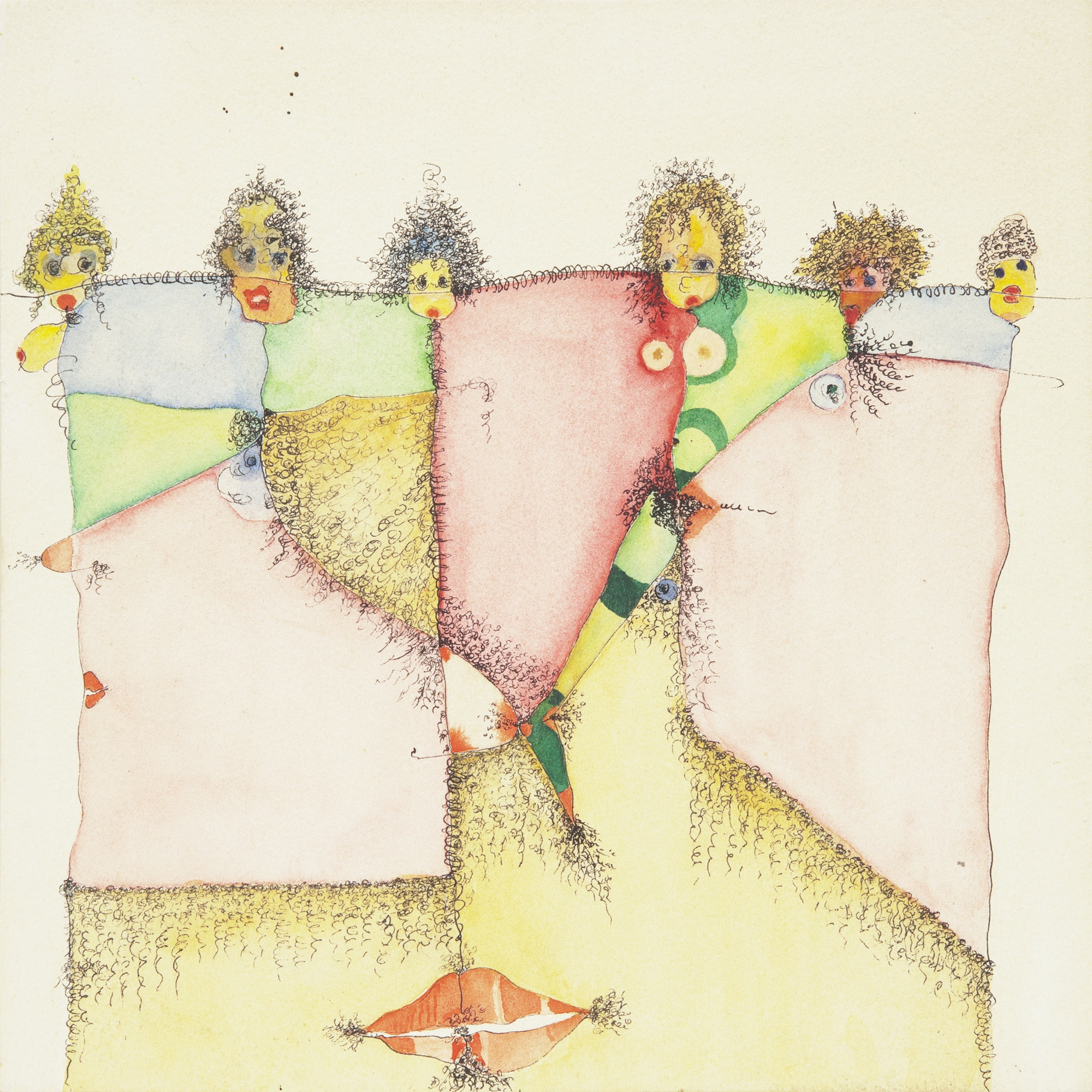 Huguette Caland, <em>Homage to Pubic Hair,</em> 1992. Mixed media on paper mounted on panel, 10 x 10 inches . C