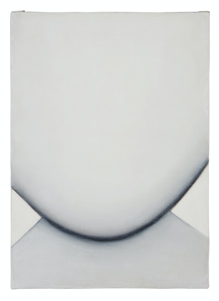 Huguette Caland, <em>Bribes de corps (Body Bits)</em>, 1973. Oil on linen, 19 1/4 x 13 3/4 inches. Courtesy The Drawing Center.