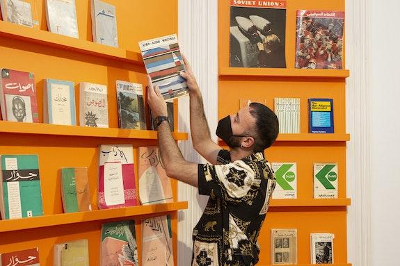 Fehras Publishing Practices, <em>Borrowed Faces: Future Recall</em>, 2021. Courtesy The Mosaic Rooms, London. Photo: Nicola Tree.