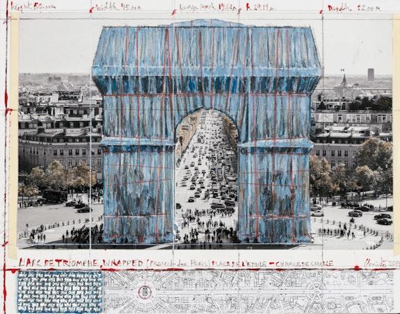 Christo, <em>L'Arc de Triomphe, Wrapped (Project for Paris) Place de l'Etoile, Charles de Gaulle</em>, 2019.Collage, 11 x 14 inches. Pencil, wax crayon, enamel paint, photograph by Wolfgang Volz, map, fabric sample, and tape. Photo: André Grossmann. © Christo and Jeanne-Claude Foundation.