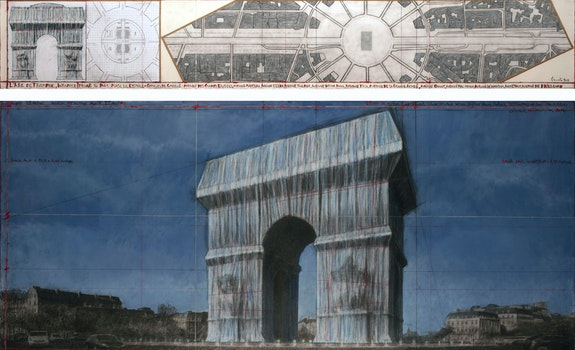 Christo, <em>L'Arc de Triomphe, Wrapped (Project for Paris) Place de l'Etoile – Charles de Gaulle</em>, 2019. Drawing in two parts, 15 x 96 inches and 42 x 96 inches. Pencil, charcoal, pastel, wax crayon, enamel paint, architectural and topographic survey, hand-drawn map on vellum and tape. Reference #3. Photo: André Grossmann. © Christo and Jeanne-Claude Foundation.