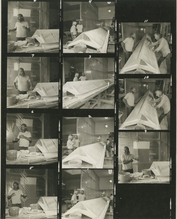 Robert Irwin and Jack Brogan in Jack's studio with an Irwin Prism, circa 1970.