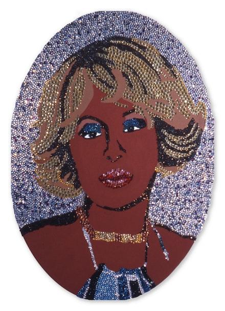 Mickalene Thomas, <em>Mary J. Me</em>, 2002. Rhinestones, acrylic, and enamel on wood panel, 60 x 48 inches. © Mickalene Thomas. Courtesy the artist.