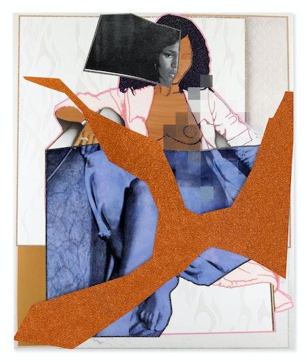 Mickalene Thomas, <em>September 1977</em>, 2021. Rhinestones, glitter, and acrylic paint on canvas mounted on wood panel with mahogany frame, 110 x 92 inches. © Mickalene Thomas. Courtesy the artist.