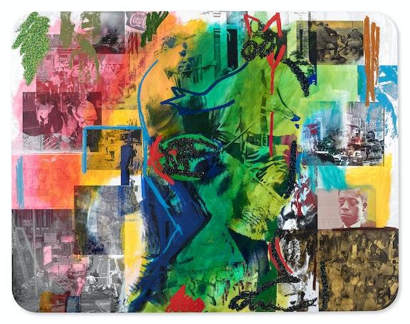 Mickalene Thomas, <em>Resist</em>, 2017. Rhinestones, acrylic, gold leaf, and oil stick on canvas mounted on wood panel, 84 x 108 inches. © Mickalene Thomas. Courtesy the artist.