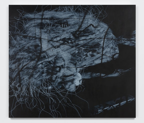 Avery Singer, <em>Wig & JUUL</em>, 2021. Acrylic on canvas stretched over wood panel, 85 1/4 x 95 1/4 x 2 1/8 inches. Courtesy the artist, Hauser & Wirth, and Kraupa-Tuskany Zeidler, Berlin. © Avery Singer. Photo: Lance Brewer.