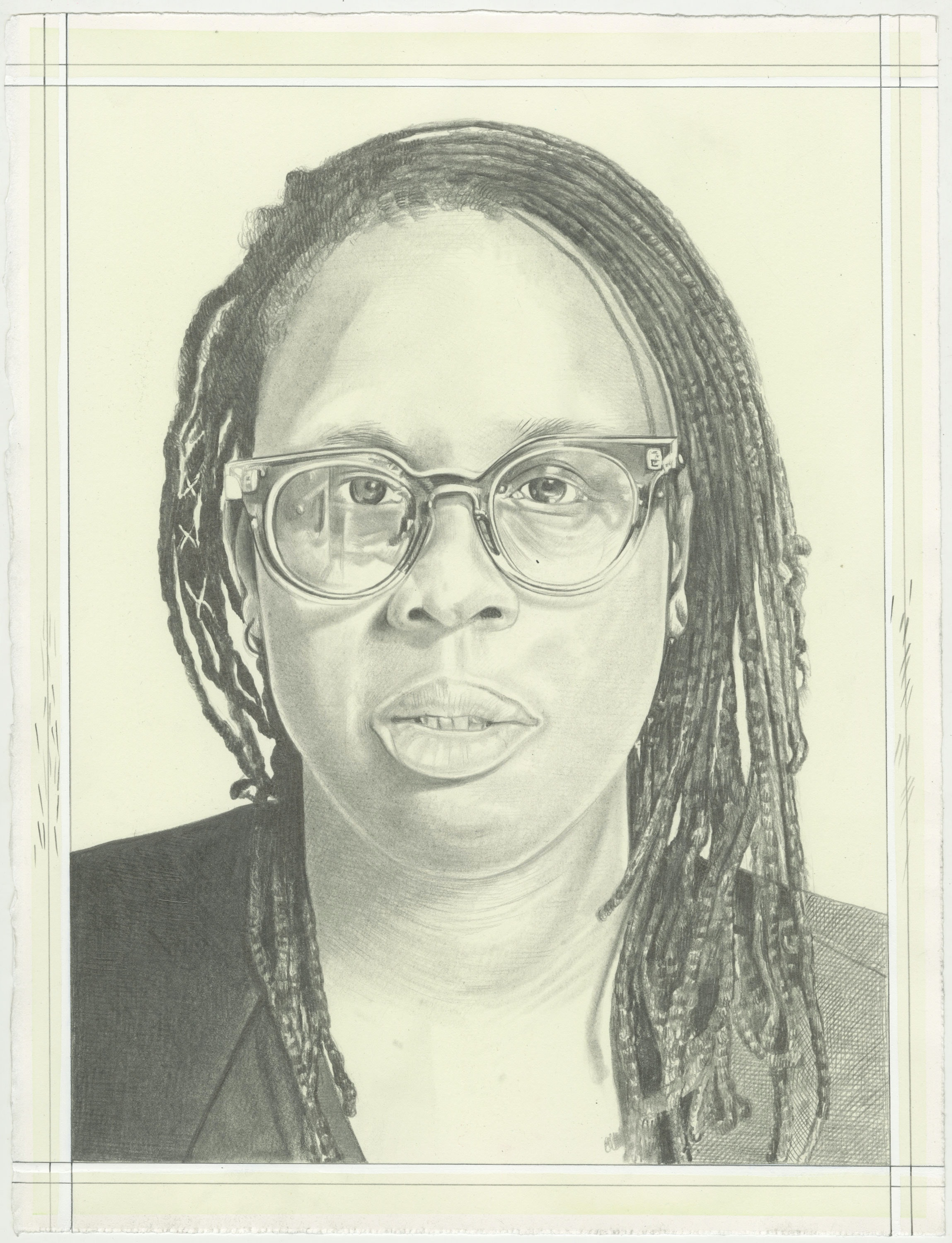 Portrait of Mickalene Thomas, pencil on paper by Phong H. Bui. Photo: Andrew Mangum