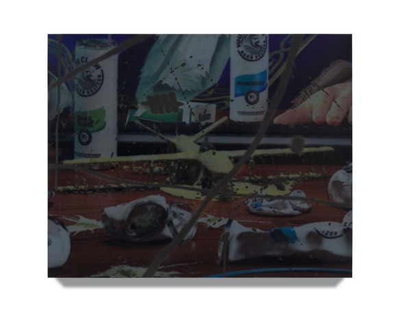 Avery Singer, <em>Bird Bar (study)</em>, 2021. Acrylic on canvas stretched over wood panel, 9 x 12 inches. Courtesy the artist, Hauser & Wirth, and Kraupa-Tuskany Zeidler, Berlin. © Avery Singer. Photo: Lance Brewer.