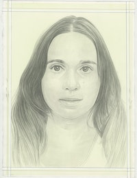 Portrait of Avery Singer, pencil on paper by Phong H. Bui.