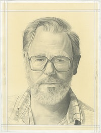 Portrait of John Currin, pencil on paper by Phong H. Bui.