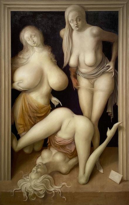 John Currin, <em>Limbo</em>, 2021. Oil on linen, 76 x 48 inches. Work in progress. Courtesy the artist.