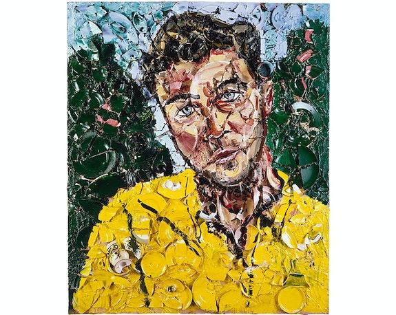 Julian Schnabel, <em>Untitled (Diego Cortez)</em>, 1987. Oil, plates, bondo on wood, 72 x 60 inches. Courtesy Julian Schnabel.