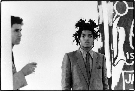 Stephen Torton and Jean-Michel Basquiat. Galerie Bischofberger, Zurich, 1982. Photo: Beth Phillips.