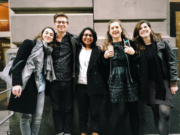 From left: Zalfa Halabi, Will Fenstermaker, Blessy Augustine, Isabelle Gillet, and Tereza Belfort (all class of 2016).