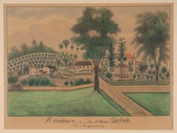 Fritz G. Vogt, <em> Residence of Mr. and Mrs. William Garlock, Town of Canajoharie, NY, October 6, 1894</em>. Graphite on paper. Collection of the Arkell Museum, anonymous gift, 1998.