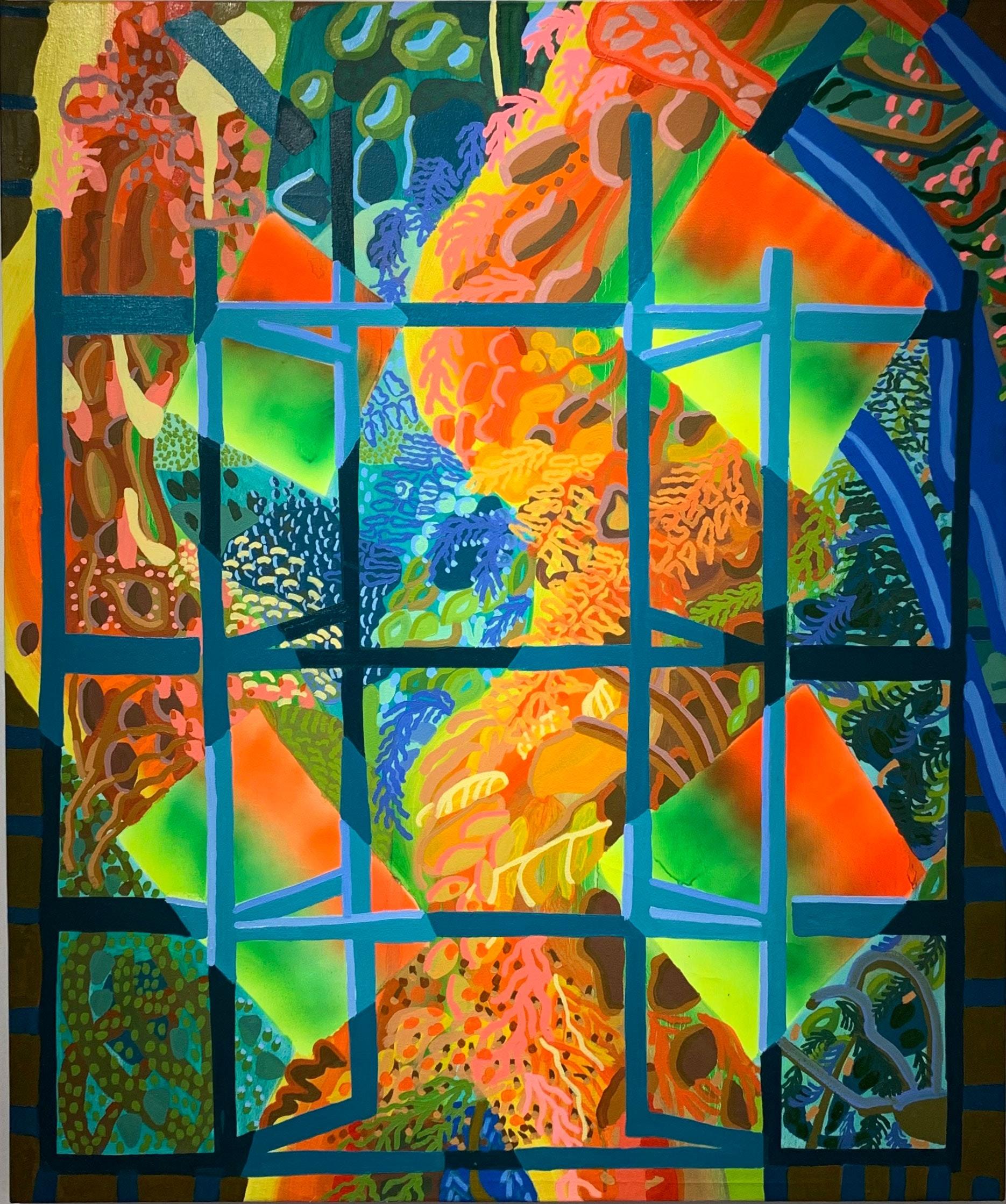 Estefania Velez Rodriguez, <em>Acumulando Luz</em>, 2021. Oil paint and spray paint on canvas, 53 x 44 1/2 inches. Courtesy Praxis Art.