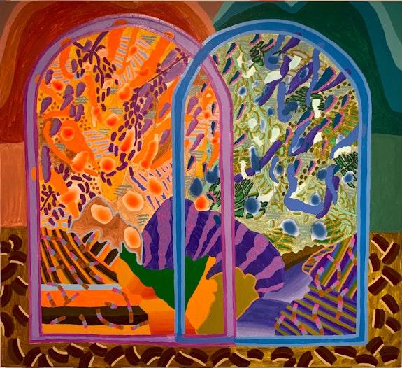 Estefania Velez Rodriguez, <em>Amanecer</em>, 2021. Oil Paint, Spray paint, crushed pastels on canvas, 67 1/4 x 61 1/8 inches. Courtesy Praxis Art.