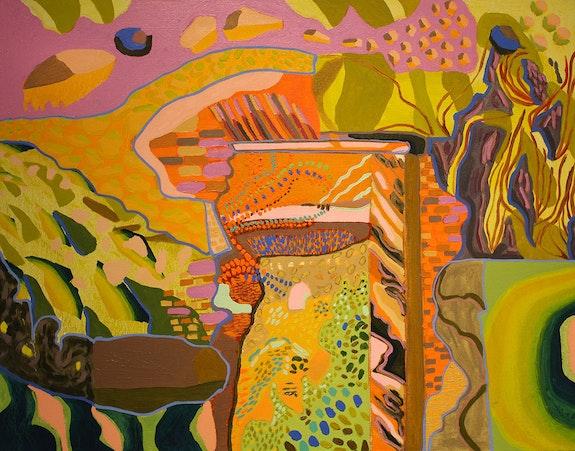 Estefania Velez Rodriguez, <em>Mundos alternos</em>, 2020. Oil on canvas, 24 x 30 inches. Courtesy Praxis Art.