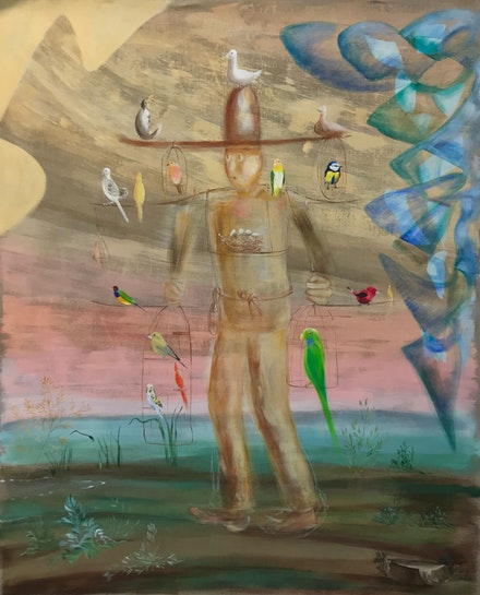 Donna Moylan, <em>Birdman</em>, 2021. Oil and acrylic on linen. 58 x 48 in. Courtesy the artist.