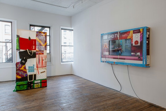Installation view: <em>Martine Syms: Loot Sweets</em>, Bridget Donahue, New York, 2021. Courtesy Bridget Donahue. Photo: Gregory Carideo.