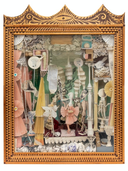 Mike Goodlett, <em>An Aspect of the Divine Life (Society Indoors)</em>, 2001–07. Wood, glass, paper, ballpoint pen, pearls, 36 x 27 x 6 1/2 inches. Collection of Lina Tharsing.