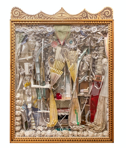 Mike Goodlett, Untitled, 2001–07. Wood, glass, paper, ballpoint pen, 46 x 35 x 6 1/2 inches. Collection of Jim Gray. Courtesy Institute 193.