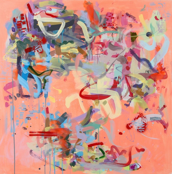 Gina Werfel, <em>Bioelectric</em>, 2019. Acrylic and mixed media on canvas, 36 x 36 inches. Courtesy the artist.